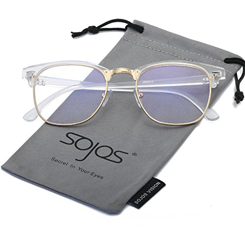 SojoS Clubmaster Semi Rimless Polarized Sunglasses Clear Lens Eyeglasses SJ5018 SJ1043 SJ2019 With Transparent Frame/Gold - Clear Polarized Glasses