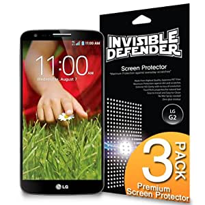 LG G2 Screen Protector - Invisible Defender LG G2 [MAX HD CLEARNESS] Perfect Touch Precision High Definition (HD) Clearness Film (3-Pack) for LG G2