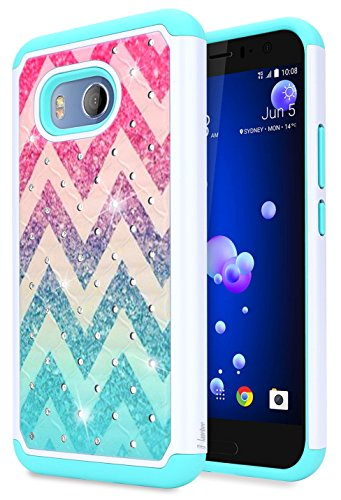 NageBee [Glitter Diamond] Case Compatible with HTC U11, HTC Ocean [Hybrid Protective] Armor Soft Silicone Cover with [Studded Rhinestone Bling] Design Hard Case (Wave)