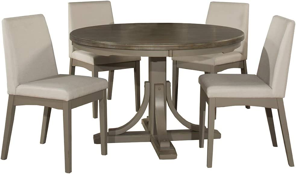 Hillsdale Furniture Hillsdale Clarion Round Upholstered Chairs, Distressed Gray 5-Piece Dining Set,