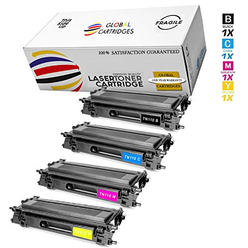 GLB Premium Quality High Yield Remanufactured Brother TN110 Toner Cartridges Set (Black, Cyan, Yellow, Magenta) 110 Laser Toner Cartridge