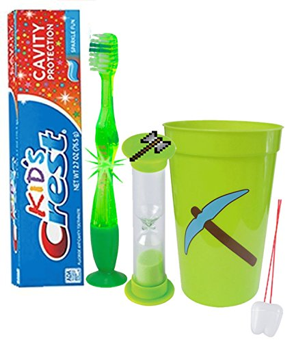 """Price comparison product image Mining Fun """"Pickaxe"""" 4pc Bright Smile Oral Hygiene Set! Flashing Lights Toothbrush, Toothpaste, Brushing Timer & Mouthwash Rise Cup! Inspired By Your Favorite Minecraft Game!"""