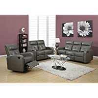 Monarch Specialties I 85GY-3 Reclining Sofa in Charcoal Grey Bonded Leather