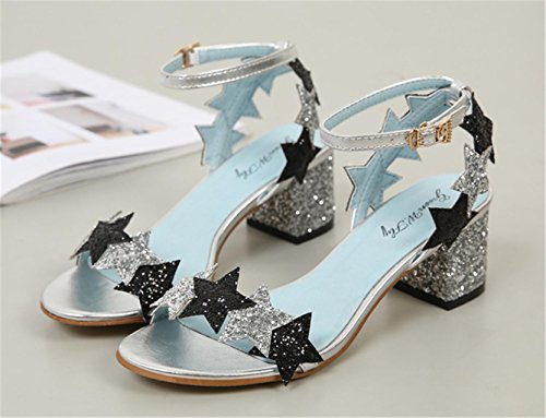 Sandals MNII Pinkhigh Sequins 38 Fashion Blue Elegant Star Heel Strappy Black Glitter Summer zrz6nqB