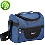 Insulated lunch bag for kids, AMERIO Lunch Box For Work Men, Women, Smooth Zipper& Lightweight, Small Lunch Box for Grils with Adjustable Strap (Whale Blue)