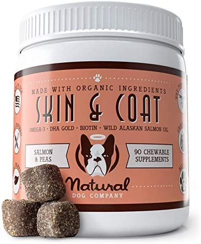 Natural Dog Company – Skin Coat Omega Supplement – Supports Healthy Shiny Coats, Relieves Dry, Itchy Skin – Salmon Pea Flavor – 90 Chews