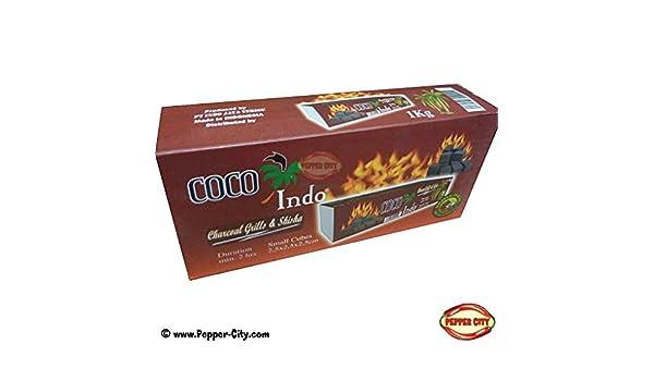 Coco Barbacoa Carbón Premium - Combustión 2 horas - También para shisha/Pipa de agua - 1 kg: Amazon.es: Jardín