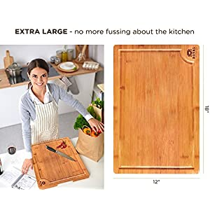EXTRA LARGE Organic Bamboo Cutting Board with Juice Groove – Kitchen Chopping Board for Meat (Butcher Block) Cheese and…