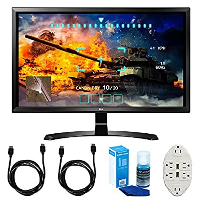 "LG (27UD58-B) 27"" 4K UHD IPS Freesync Gaming Splitscreen LED Monitor w/ Accessories Bundle Includes, 2x 6' HDMI Cable, Universal Screen Cleaner & Transformer Tap USB w/ 6-Outlet Wall Adapter & 2-Ports"