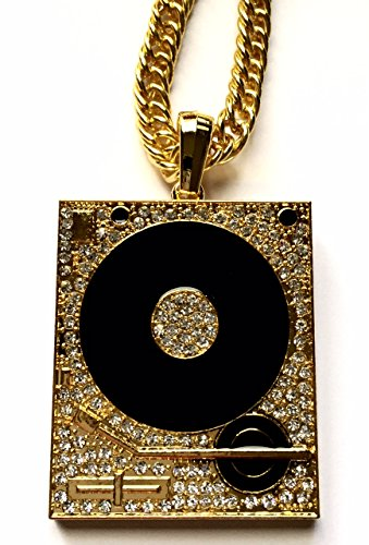 Hip Hop 14K Gold Plated Iced CZ Turntable DJ Mixer Scratcher Large Pendant Necklace (Record Player Scratcher)