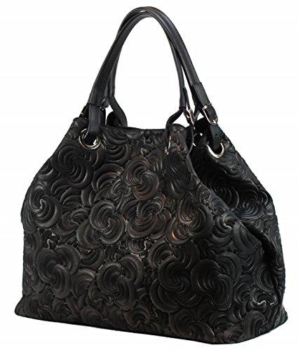 ed8d2e793173f Bozana Bag Lea schwarz nero Italy Designer Damen Ledertasche Handtasche  Tasche Wildleder Prägung Shopper Neu
