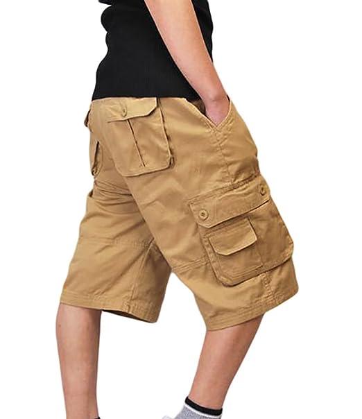 740b7e7e1708cd ZKOO Uomo Cargo Pantaloni Corti Shorts da Uomo Cotone Bermuda Pantaloncini  Outdoor Spiaggia Pantaloncini con Tasconi Laterali: Amazon.it: Abbigliamento
