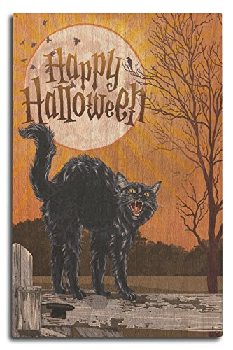 Lantern Press Halloween - Happy Halloween - Black Cat and Moon (10x15 Wood Wall Sign, Wall Decor Ready to Hang) -