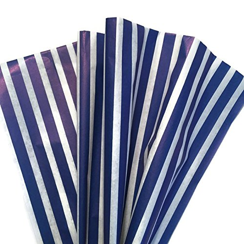 Printed Tissue Paper for Gift Wrapping (Classic Nautical Royal Blue Stripe) – Decorative Gift Tissue Paper, 24 Large Sheets (20×30)