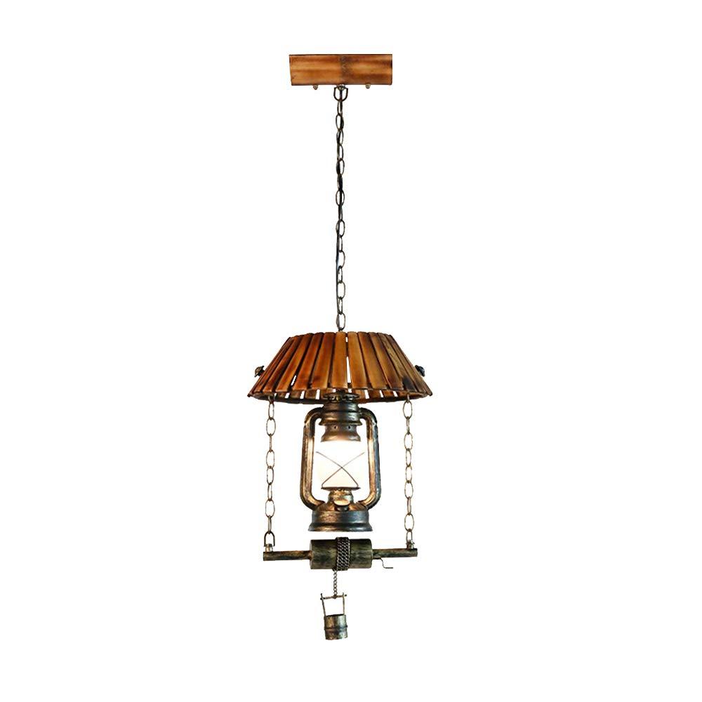 Vintage Schmiedeeisen Kronleuchter American Country Petroleumlampe Nostalgische Pferd Lampe Wohnzimmer Deckenlampe Bambus Klassische Dekorative Lampe Glas Lampenschirm E27 Lampenfassung Hängeleuchte