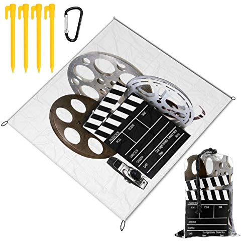 FunnyCustom Picnic Blanket Portable Waterproof Vintage Movie Clapboard Tape Picnic Mat for Beach Camping 67 x 57 Inch ()