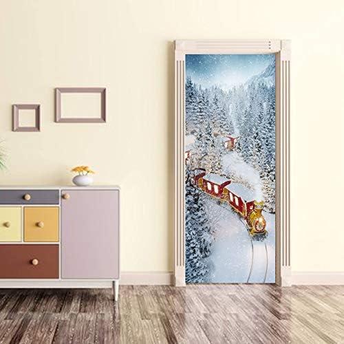 Festival de la puerta de navidad Navidad tren nieve cristal ...