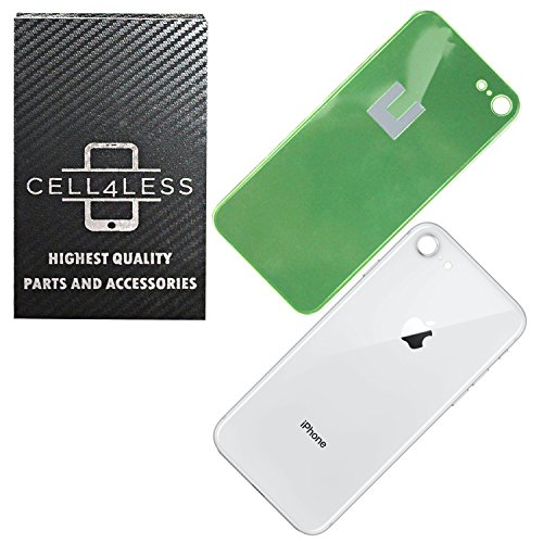 Back Glass Cover OEM Battery Door Replacement w/Adhesive & Removal Tool for Apple iPhone 8 (Silver)