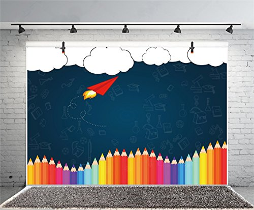 (Leyiyi 8x6ft Welcome Back to School Photography Background Old Classroom Chalk Board Blackboard Colored Pens Back Season Grunge Gaffiti Paper Plane Backdrop Students Photo Portrait Vinyl Studio Prop)