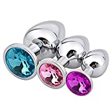YongK Anal Plug, 3pcs Beginners Jewelry Anal Butt Plug Sex Toys Anal Trainer Toys for Women,Men and Couples (Purple+Pink+Blue)