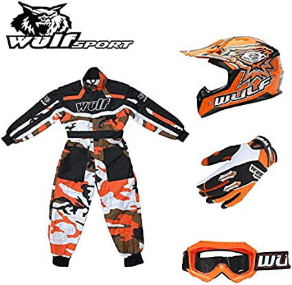Wulf Wulfsport Kids Flite Motocross Helmet Black XL 53-54cm Attack Gloves XS 7-8Yrs + Cub Abstract Goggles 7cm Kids Race Suit M