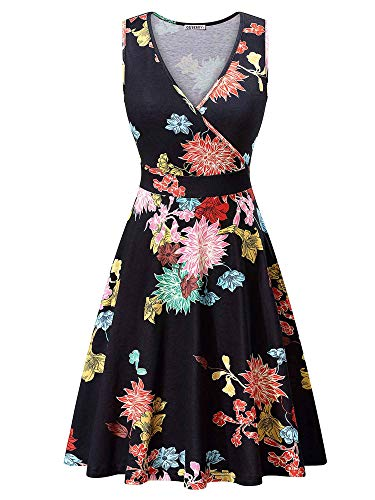 GUBERRY Aline Dress for Women V Neck Wrap Floral Casual Midi Dress with Pockets