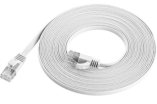 Maximm Cat6 Flat Flexible Ethernet Cable, 20 Ft. [1-Pack] White - Pure Copper - Includes Cable Clips and Ties (Crossover 550mhz Cable Utp Network)