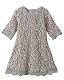 CVERRE Flower Girl Lace Dress Country Dresses With Sleeves 1-6 7-16 (Gray,170)