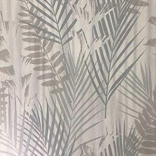 76 sq.ft roll Made in Italy Portofino wallcoverings Modern Embossed Vinyl Wallpaper Ivory Gray Silver Off White Metallic Floral Tropical Palm Leaves Pattern Trees Textures Textured Wall coverings 3D
