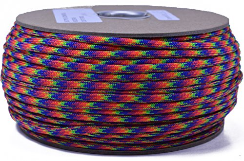 Bored Paracord - 1', 10', 25', 50', 100' Hanks & 250', 1000' Spools of Parachute 550 Cord Type III 7 Strand Paracord Well Over 300 Colors - Rock Star - - Star 250