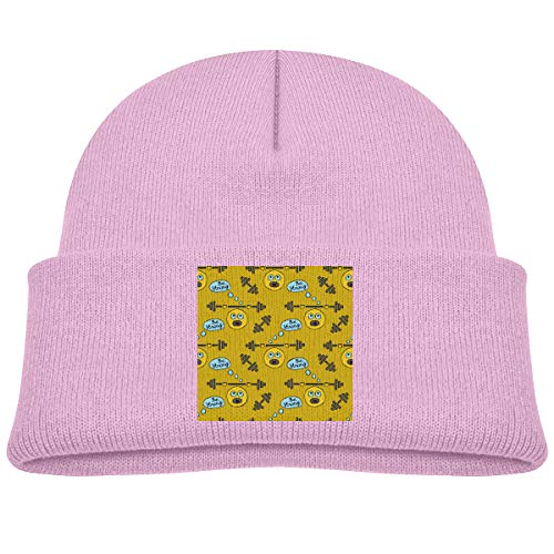- Yimo Kids Knitted Beanies Hat Cute Athlete Barbell Emoticon Head Winter Hat Knitted Skull Cap for Boys Girls Pink