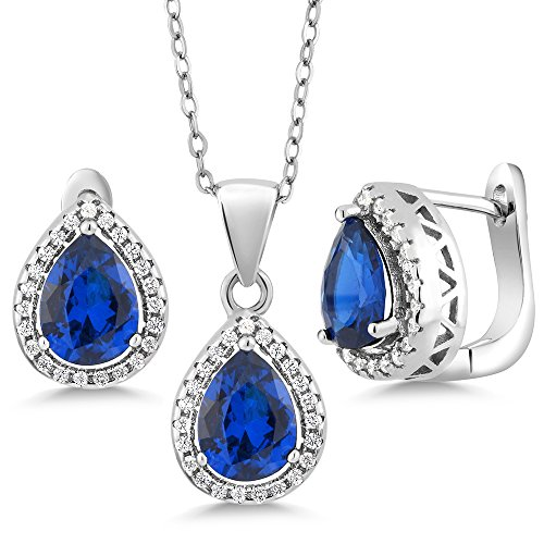 (Gem Stone King 6.50 Ct Pear Shape Blue Simulated Sapphire 925 Sterling Silver Pendant Earrings Set with 18 Inch Silver Chain)