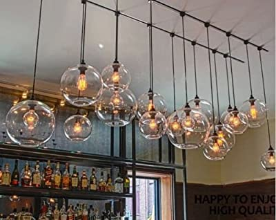 "Pendant Light, MKLOT Retro Industrial Edison Style Finish 7.87"" Wide Round Glass Ball Shape Ceiling Lamp Vintage Lighting Fixture Lights"