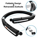 Bluetooth Headset, Bluetooth Headphones-EGRD 30 Hrs Playtime Wireless Neckband Design W/Foldable Retractable Headset for Cellphones Like iPhone XS MAX/ 8/7 Plus Samsung Galaxy S9 Note 8 (Black)