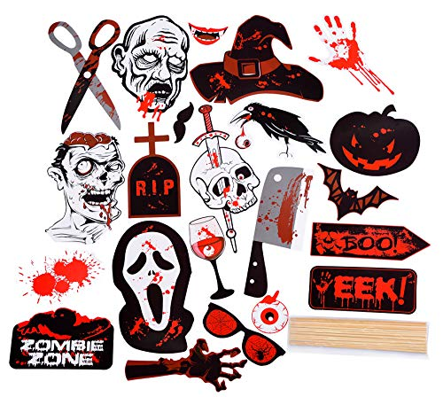 Halloween Photo Booth Props, Scary Decorations for Indoor & Outdoor, Cosplay Party Supplies, 22 Pieces Kit | Horror Characters, Backdrop Accessories, Kids & Adult Pranks | Bamboo Sticks Included - DIY