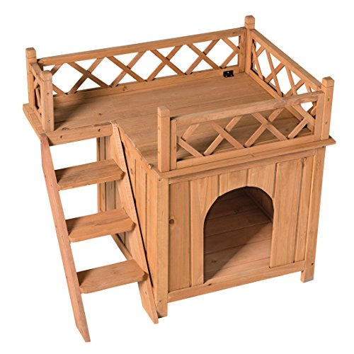 GOOD LIFE Wood Cat House Pet Home Furniture Cat Shelter Small Dog Condo Natural Color with Balcony and Stairs PET110