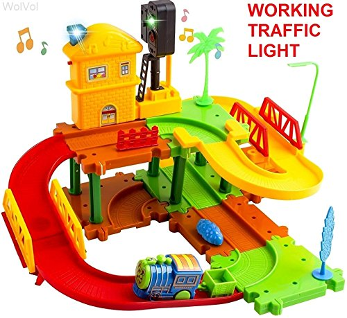 - WolVol Compact Train Set Tracks for Kids with Real Working Traffic Red/Green Light with Sounds and Electric Mini Running Train, Lower and Upper Levels