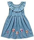 Jobakids Girls Dresses Sleeveless Summer Cotton Cute Print Casual Dress for Toddler(7T,Blue)
