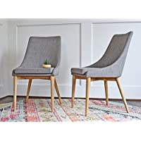 Modern Dining Chairs - Mid Century Dining Room Chairs - SET OF 2 - Upholstered Light Grey Fabric - EDLOE FINCH