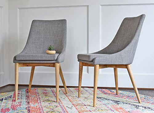 Ash Dining Set - Modern Dining Chairs - Mid Century Dining Room Chairs - SET OF 2 - Upholstered Light Grey Fabric - EDLOE FINCH