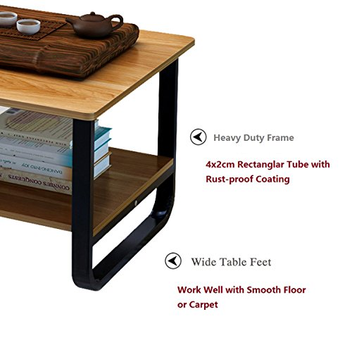 Rectangular Coffee/Tea Table with Storage Shelf (Wood) by Elevens (Image #1)