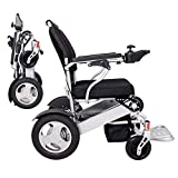 EBEI Foldable Motorized Wheelchair Electric Power Wheelchair - Lightweight and Durable - Weighs only 58 lbs with Battery - Supports 400 lb (Silver)