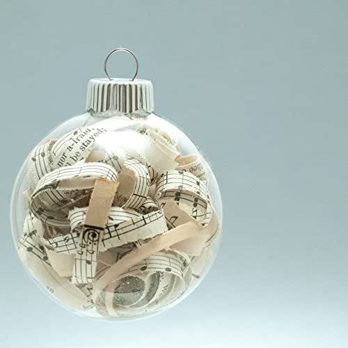 Vintage Hymn Christmas Ornament - 2.62 Inch Glass Ornament with 1/4 Inch Strips