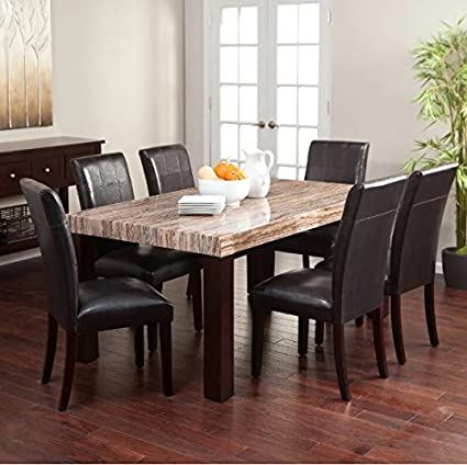 7 Piece Dining Table Set Faux Marble Top Luxurious Leather Chairs Sleek Wood Frames