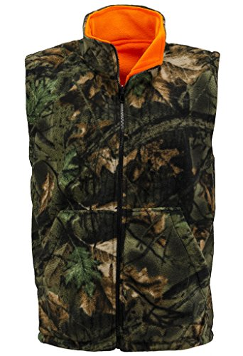 Trail Crest Men's Reversible Camo & Blaze Orange Vest W/ Magnet, 2X (Camouflage Vest)