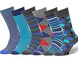 Easton Marlowe Men's Colorful Patterned Dress Socks - 6pk #24, neutral colors - 43-46 EU shoe size