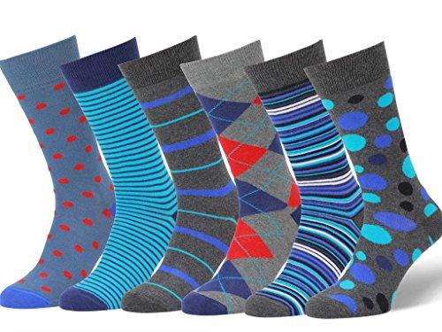 Easton Marlowe Men's Colorful Patterned Dress Socks - 6pk #24, neutral colors - 39-42 EU shoe size