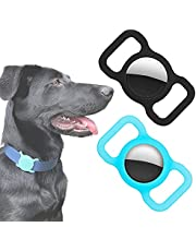2 Pack- Air Tag Case Protective Cover for Apple AirTag by Wild WIllow Pet Dog Cat Collar Anti-Lost GPS Tracker Loop Protector for Air Tag (Black/Bright Blue)