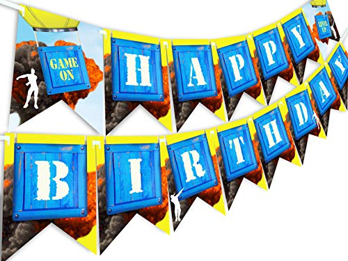 (POP parties Battle Gaming Party Happy Birthday Banner - Nite Game Party Supplies - Game Truck Party Decorations - Battle Gaming Banner)