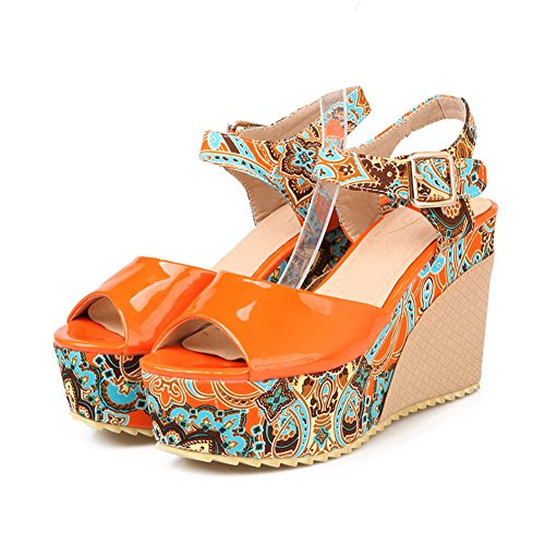 Amoonyfashion Donna Open Peep Toe Tacco Alto Zeppa Platform In Pelle Verniciata Sandali Con Colori Assortiti Arancione